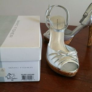 Marc Fisher Silver Strappy Sandals with cork base